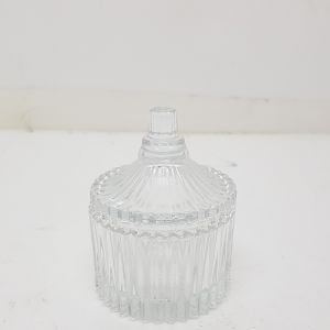 gcc14s-1 : mini round ribbed jar with flat lid **SOLDOUT**