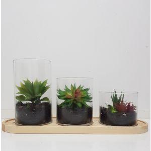 gch013 : Sven long wooden base set/3 glass hurricane display