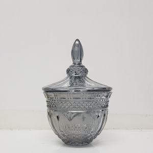 gcc082S-GY : Stemless Buckingham crystal glass jar - Small : Opaque Smoky Grey
