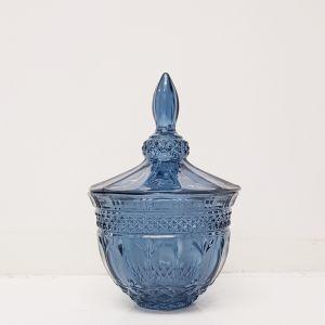 gcc082S-BD : Stemless Buckingham crystal glass jar - Small : Classic Blue **SOLDOUT**
