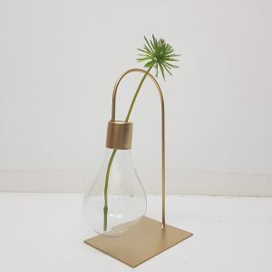 JKW237-9 : Eddison Gold Light Bulb vase propagation stand - single