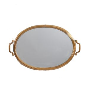 L27: Trevi Oval Gold Ornate Mirrored Serving Tray **DISCONTINUED UNTIL FURTHER NOTICE**