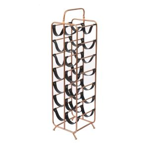 L83 : Derrick 12 bottle Modern faux leather metal Tall Wine Rack  **NOT AVAILABLE UNTIL FURTHER NOTICE**