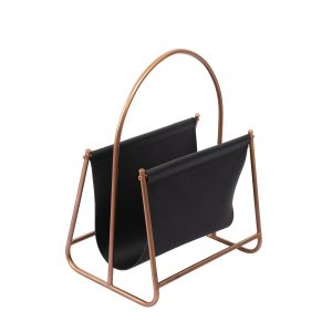 L124 : Derrick modern faux leather rose gold metal frame magazine holder