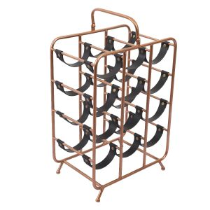 L82 : Derrick 12 bottle Modern faux leather metal Square Wine Rack **AVAILABLE END MARCH 2021**