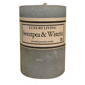 rnd 2x3' scented candle - medium blue (sweetpea wisteria)