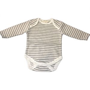 chillibaby cotton boys long arm body suit - grey&white thick stripes