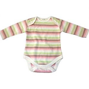 chillibaby cotton girls long arm body suit - pink w/green &choc stripes