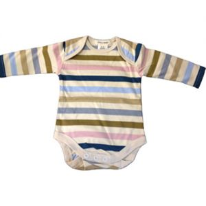 chillibaby cotton boys long arm body suit - multi color w/cream stripes