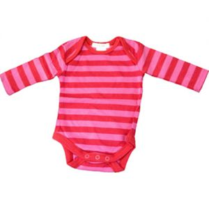 chillibaby cotton girls long arm body suit - pink striped red