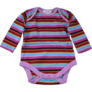 chillibaby cotton girlss long arm body suit - multi color w/dark purple stripes