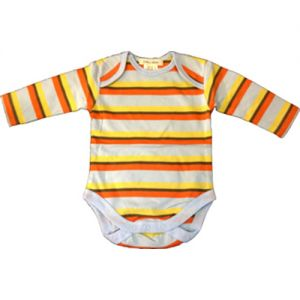 chillibaby cotton boys long arm body suit - multi color w/orange stripes