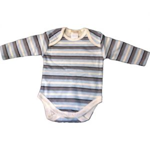 chillibaby cotton boys long arm body suit - blue w/grey stripes