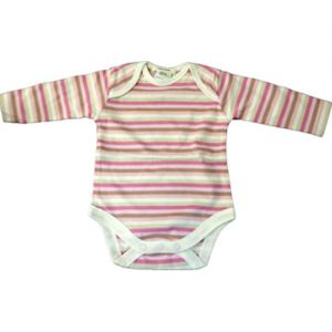 chillibaby cotton girls long arm body suit - pinks striped cream
