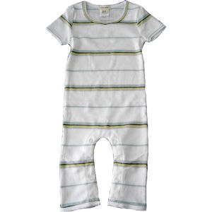 chillibaby cotton boys long leg body suit - white w/thin stripes