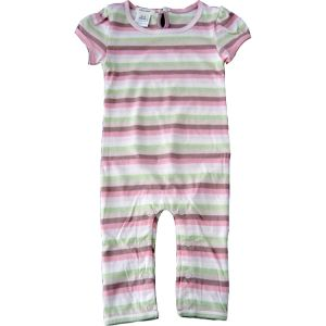 chillibaby cotton girls long leg body suit - pink w/green &choc stripes