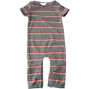 chillibaby cotton boys long leg body suit - dark grey w/thin stripes