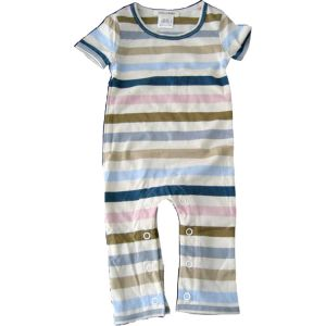 chillibaby cotton boys long leg body suit - multi color w/cream stripes