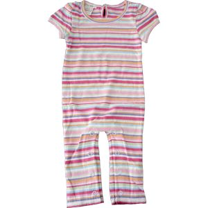 chillibaby cotton girls long leg body suit - multi color thin striped w/purple - size 9-12 mth