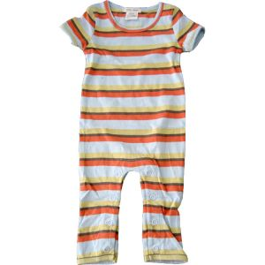 chillibaby cotton boys long leg body suit - multi color w/orange stripes