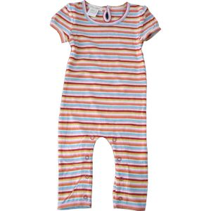 chillibaby cotton girls long leg body suit - multi color thin striped w/red