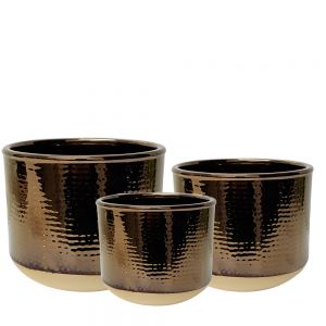 2-tone ceramic pot - brass w/natural