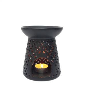 CL25-1b : Jawa ceramic oval oil burner - charcoal black **SOLDOUT / DISCONTINUED**
