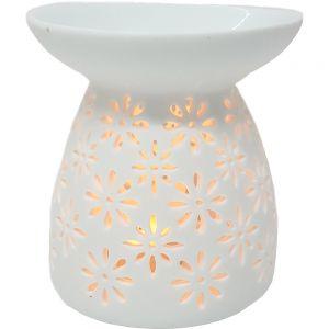 oval oil burner w/flower cutout - white