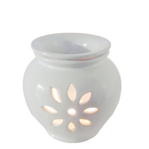 CL29I : Classic round 2pc  ceramic oil burner - ivory (H13cm) **SOLDOUT**