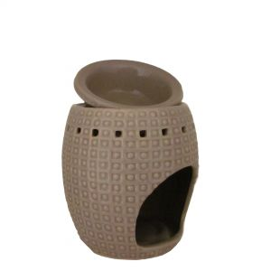 CL30G : Arabian oval 2pc oil burner w/ spotted pattern - taupe/grey