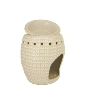 CL30I : Arabian oval 2pc oil burner w/ spotted pattern - ivory/natural