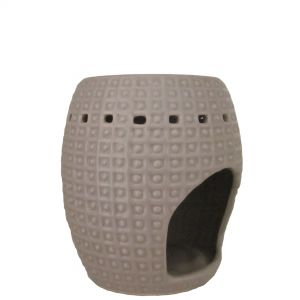 CL33G : Arabian oval oil burner w/ spotted pattern - taupe/grey
