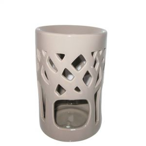 contemporary cylinderical oil burner - taupe/grey