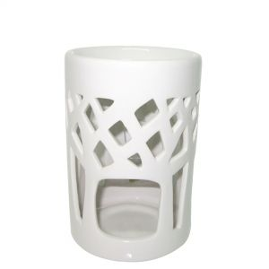 contemporary cylinderical oil burner - white