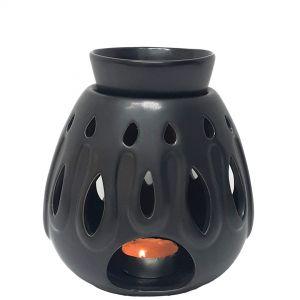 Contemporary 2pc Egg Oil burner - charcoal black