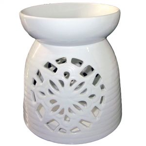 cL48L-w : Large Rafa ceramic oil burner - white **AVAILABLE LATE MARCH **