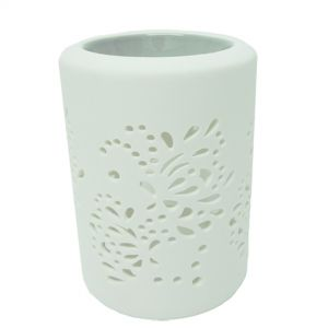 cL49b-g : Maha Leaf cutout ceramic oil burner - grey **SOLDOUT - DISCONTINUED **