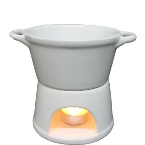 cL52w : Fondue 2pc ceramic oil burner - white