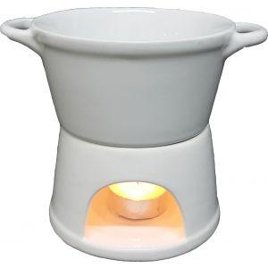 Fondue 2pc ceramic oil burner - white