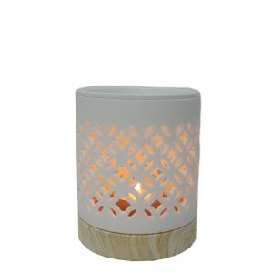 CL55c : Small Hassan oil burner -eclectic circle (white)  **AVAILABLE SEPTEMBER 2020**
