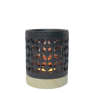 CL55D-b : Small Hassan oil burner -eclectic diamond (charcoal black) **SOLDOUT**