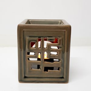CL66-TN : Sani Square ceramic oil burner -  tan wash
