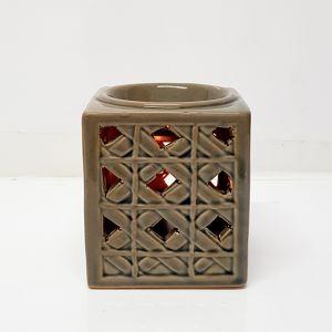 CL67-TN : Sadi Square ceramic oil burner -  tan wash