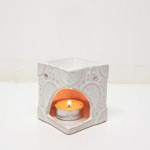 CL68-CR : Nuna square  oil burner -  white wash **SOLDOUT**