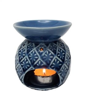 CL70-DB : Round oil burner with floral petal pattern - Navy Blue
