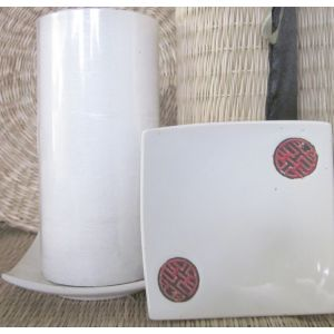 CP01w :curved small ceramic oriental tapas plate / candle holder - white