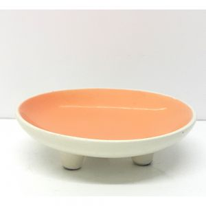 3 legged ceramic glazed candle holder - orange