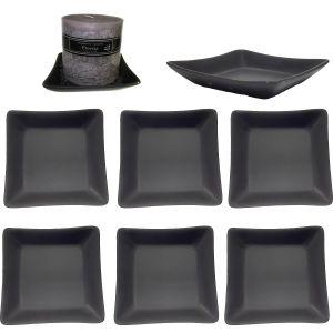 CP-J : large square glazed candle / tapas plate 14x14cm - black