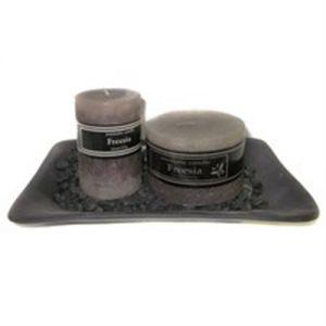 XL rectangular glazed candle plate - 20x13cm - black