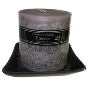 large square glazed candle plate 14x14cm - black